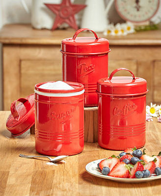 The Lakeside Collection Set of 3 Vintage Metal Canisters Red