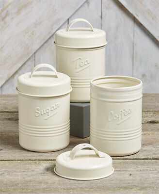 The Lakeside Collection Set of 3 Vintage Metal Canisters Off White
