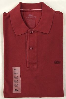9fdb8c238 Lacoste Men s Garment Dyed Regular Fit Polo Shirt Red Used Wine EU 5 US M