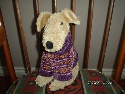 Terrier Dog Stuffed  Plush with Knitted Sweater