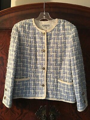 Vtg Classic CHANEL Boutique Houndstooth Jacket 42 CC Buttons Gold Chain