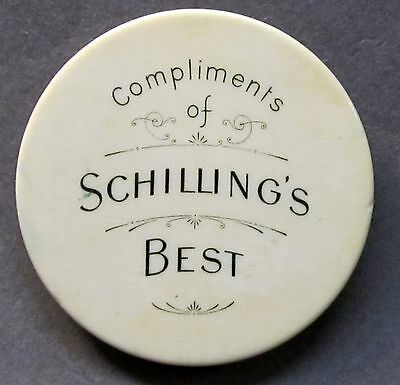 1897 SCHILLING'S BEST spices celluloid pocket mirror with beveled glass *