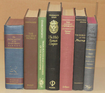 Lot of 7 Vintage Antique Bookshelf Library Decor History Rome Huns Ancient Roman