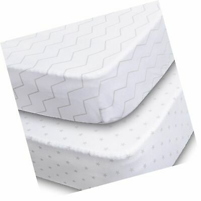 JoMolly Soft Fitted Crib Sheet, Stars and Chevron, 2 Pack