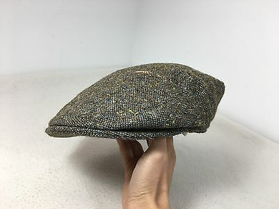Vintage Pytchley cap tweed wool Flat cap hat green blue Made in England