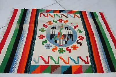 Vintage Mexican Woven Wool Rug with Fringe/Tapestry/Aztec/Snake colorful