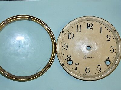 Antique Clock Parts USA Sessions Mantle Clock Dial Bezel & Glass Genuine Used
