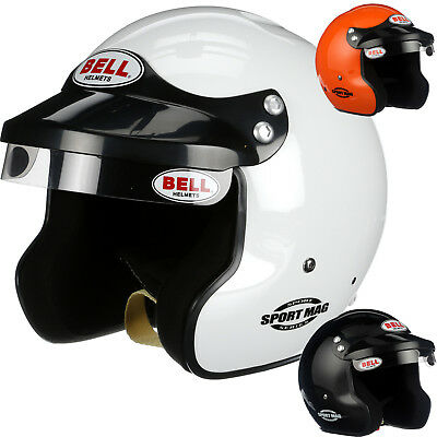 Bell Sport Mag Open Face Auto Racing Helmet - HANS Snell SA2015 - White or Black