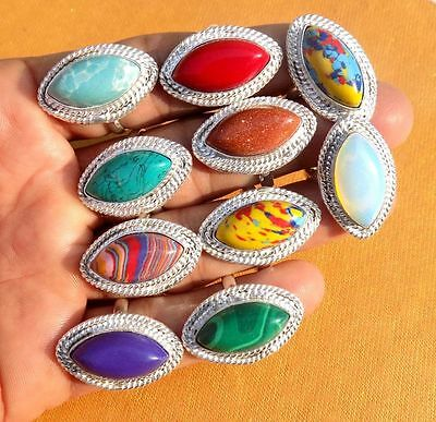"""10PCS RING MARQUISE SHAPE STONE 925 MARK SILVER OVERLAY US SIZE 6 to 9.5"""""""