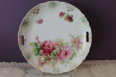 """German Porcelain Scalloped Handled 10"""" Cake Plate - Roses With Green Luster"""