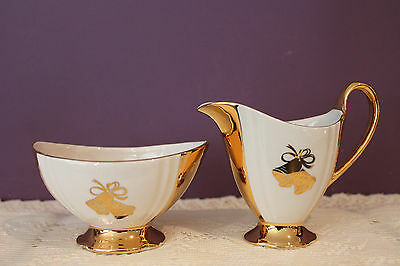 Vintage Royal Winton 50Th Anniversary Cream And Sugar Set With Golden Bells