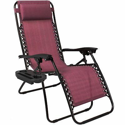 Zero Gravity Chairs Case Of (2) Lounge Patio Chairs Outdoor Yard Beach- Burgundy