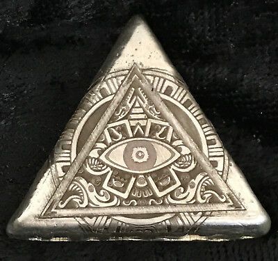"1 Troy Oz .999 Fine Silver MK BarZ ""All Seeing Eye!"" Homage Laser Art Triangle"
