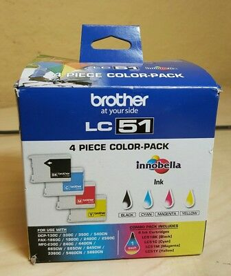Brother LC51 Print Cartridge Black Yellow Cyan Magenta 4-Pack, LC514PKS