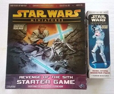STAR WARS Miniatures Starter game + Rebel Storm Booster Pack 7 random miniatures