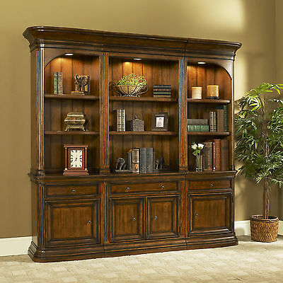 Devonshire Walnut 3 Piece Office Bookcase Set or Library Bookcase Wall