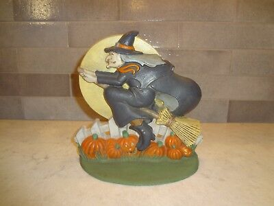 Midwest Of Cannon Falls Cast Iron Halloween Witch Riding Broom Pumpkin Door Stop