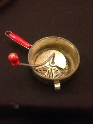 Vtg, Kitchen red handle, Steel Foley Food Mill, Masher Strainer