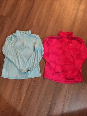 2 Girl's Nike Dri Fit Quarter Zip Jacket Pullover Sz Large Youth Large