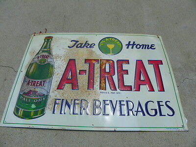 A Treat Beverages Tin Sign W / Factory Bottle  Allentown Pa