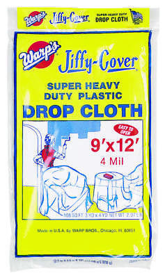 wrap brothers 4jc912 super heavy duty drop cloth 4 mil x 9 ft