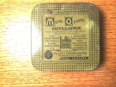 Vintage Photography Tin Metol Quinol Developer,nepera Chemical Co.