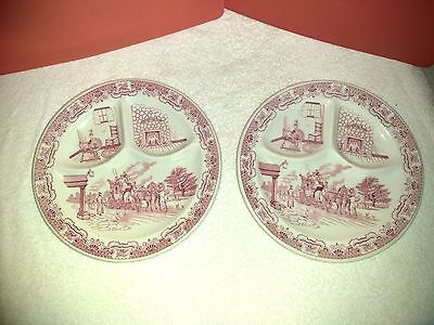 """2 Iroquois Syracuse China """"Ye Olde Inn"""" Heavy Red Divided Dinner Plates      #32"""