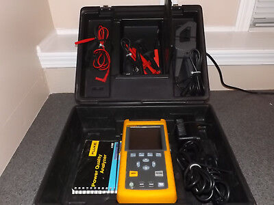 Fluke 43B Power Quality Analyzer with Case, Leads, Current Clamp, Acc - READ!