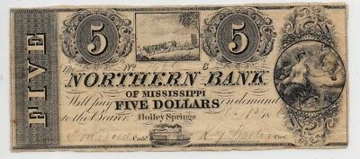 1861 Northern Bank of Mississippi 5 Dollars on Demand-Holley (Holly) Springs x70