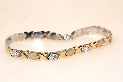 X O Sterling Silver Gold Plated Crystal Bracelet