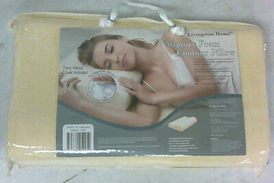 "NEW Livingston Home Memory Foam Contour Pillow with Terry Cloth Cover 12""X18"""