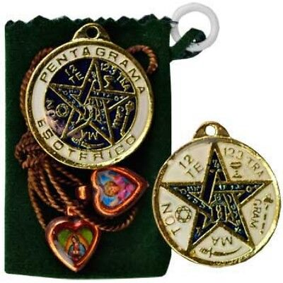 SUCCESS PENTAGRAM TALISMAN WITH POUCH POCKET  Wicca Pagan Witch Goth