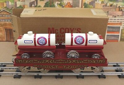 McCoy Standard Gauge 256F TPC Circus Flatcar with Water Wagons VNM Boxed
