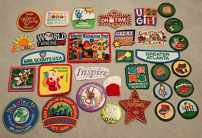 Lot of Girl Scouts USA 28 Patches & 4 Pins 2008  2009 Atlanta Georgia