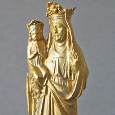 "Antique 5"" French St Anne de Beaupre + MARY Statue GILT Spelter Made in FRANCE"