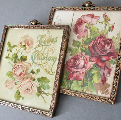 Pr Vintage Miniature Gilt Brass Frames * Victorian FLORAL Gift Book Covers ROSES