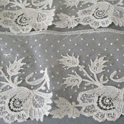 "Antique Handmade French LACE Brussels POINT de GAZE Needlelace DOTTED 4""W X 84"""