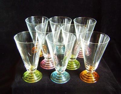 Vintage Harlequin Set of 8 Coloured Bohemian Flute Glasses with Stepped Feet