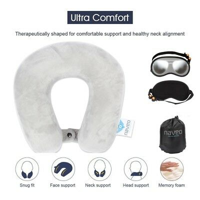 Memory Foam U Shaped Travel Pillow Neck Support Head Rest Airplane Cushion Large