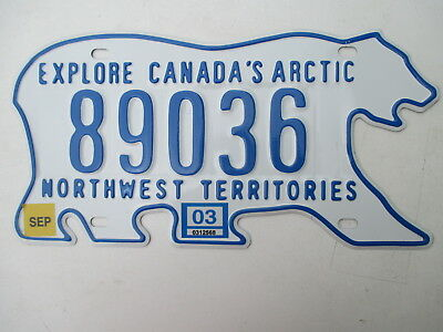 2003 NWT Northwest Territories Canada passenger polar bear 89036 license plate