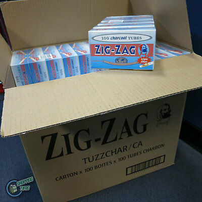 10000 ZIG ZAG CHARCOAL EMPTY TUBE Tobacco Cigarette filter Rolling Filling