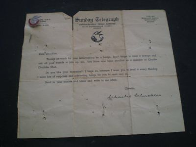 Old members certificate AND badge - Sunday Telegraph Charlie Chuckles Club