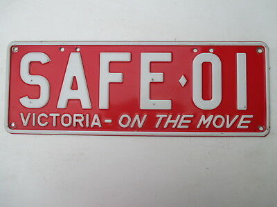 1998 Victoria custom #SAFE-01 On Move white/red license plate