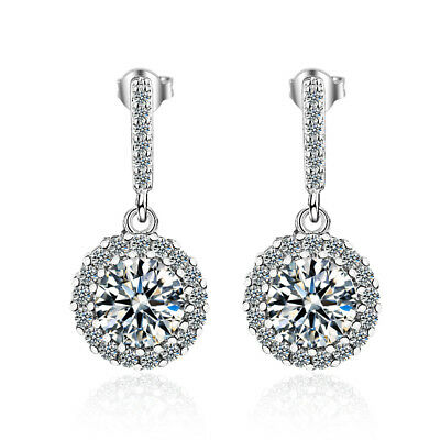 066e107f2 Charm Solid 925 Sterling Silver Shiny Cubic Zirconia Round Stud Drop  Earrings