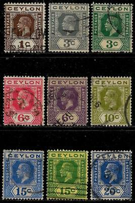 British Colony CEYLON 1912 - 1925 Old Stamps - King George V