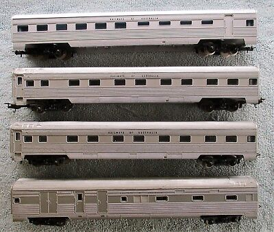 4 x Railways of Australia Passenger Carriages, Dining Car, Guards Van - Lima, HO