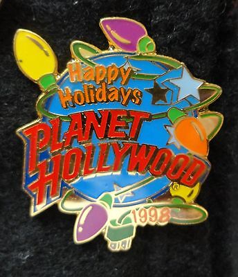 """Christmas Lights 1998 Planet Hollywood Blue Planet """"Happy Holidays"""" PH Lapel Pin"""