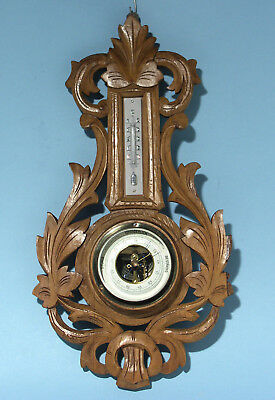 Vintage Carved European Barometer / Thermometer