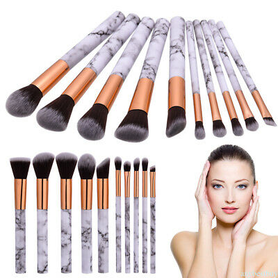 10x Marble Texture Handle Makeup Brushes Set Powder Eyeliner Eyeshadow Brush