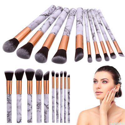 10PC Make up Brushes Set Eyeshadow Eyeliner Powder Marble Texture Handle Brush